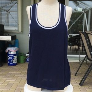 Blue and White Knit Shell Tank  Easy Wear